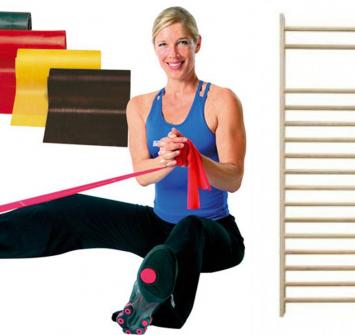 Wall bar and therabands for strength training